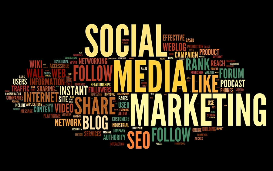 Social media marketing concept in word tag cloud on black backgr